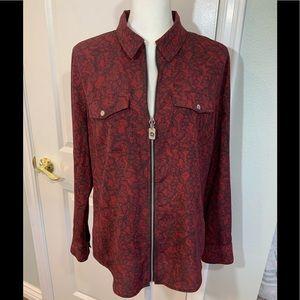 Michael Kors red & black zip blouse